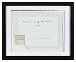 GALLERY SOLUTIONS 11x14 Black Document Frame with Double Whi