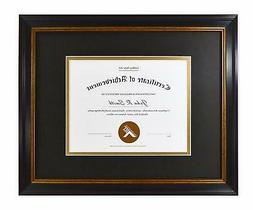 Golden State Art 11x14 Frame for 7x9 Diploma/Certificate Bla