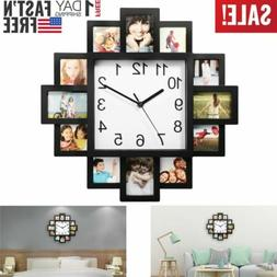 12 Pictures Wall Clock Art Clock Photo Frame Clock Home Deco