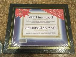 2-PACK Leatherette Document Frame 8.5 x 11 - Black w/Gold Ac