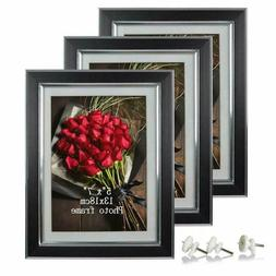 2 Pack Picture Frames 5x7 Black Photo Frame Set Wall Glass P