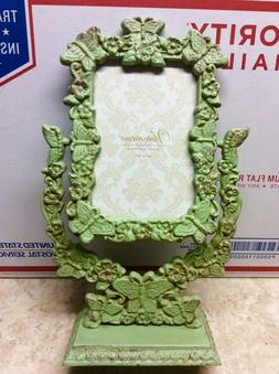 """4""""x6"""" SHABBY-CHIC CAST IRON Pedestal Picture Frame Butterfli"""