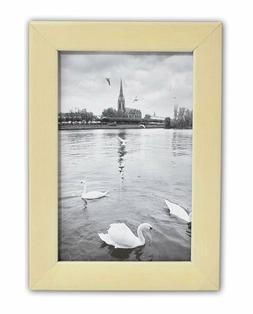 Golden State Art, 4x6 Cream Color Wood Swan Photo Frame with