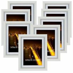 PETAFLOP 5x7 Picture Frame Set Hold 5 by 7 inch White Photo
