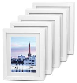 """Cavepop 5x7"""" White Wood Textured Picture Frames - Set of 5"""