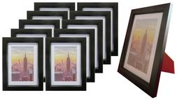 Frame Amo 5x7 Black Wood Picture Frame, Mat for 4x6, Glass F