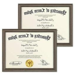 8.5x11 Diploma Frame 2 Pack Hickory Brown Certificate Frame