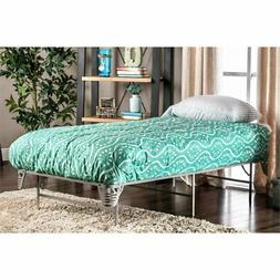 Furniture of America Polosa Twin Bed Frame in Silver