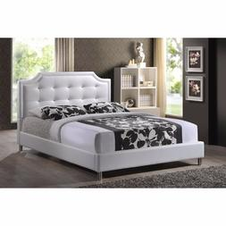 King Size Bed Frame Faux Leather Platform Upholstered Headbo
