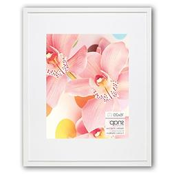 Snap 16x20 White Wood Wall Frame with Single White Mat For 1
