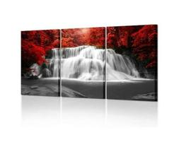 Kreative Arts Black Canvas Wall Art 3 Pieces Red Woods Water