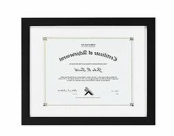 11x14 Black Document/Wood Frame with White Mat for 8.5x11 Do