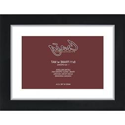13x16 Black 1 Inch Wide Picture Frame, Single White Mat with