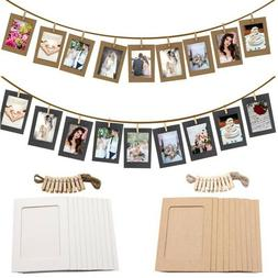 DIY Wooden Clip Paper Photo Frame Picture Holder For Wedding