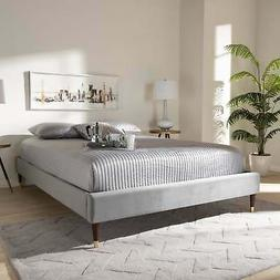 Baxton Studio Fabric Glam Platform Bed Frame with Goldtone