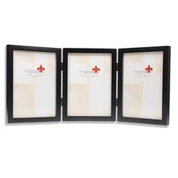 5 x 7 Gallery Hinged Triple Wood Picture Frame in Satin Blac