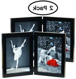 5x7 Inch Hinged Dual Picture Wood Photo Frames with Glass F