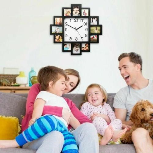 12 Pictures Wall Art Photo Clock Decor Wall Hanging