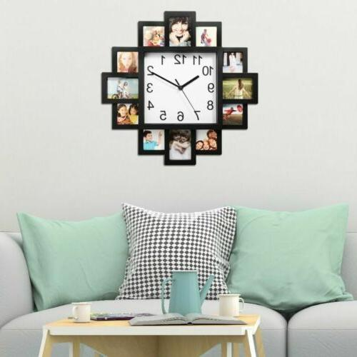 12 Pictures Wall Clock Art Photo Clock Home Hanging