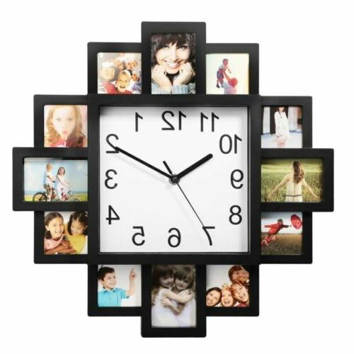 12 Pictures Wall Art Clock Frame Clock Home Hanging