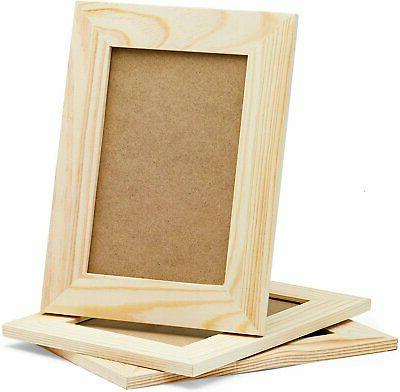 3 unfinished wood picture frames for crafts
