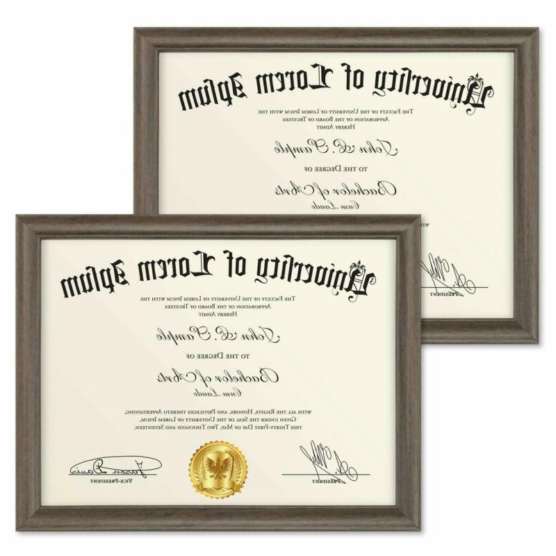 Icona Bay 8.5X11 Diploma Frame 2 Pack Hickory Brown Certific
