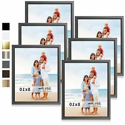 8x10 picture frames 6 pack gray simple