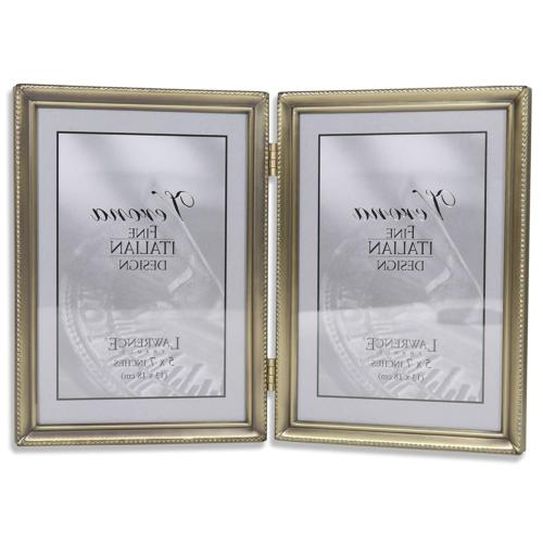 Lawrence Frames Antique Brass 5x7 Hinged Double Picture Fram
