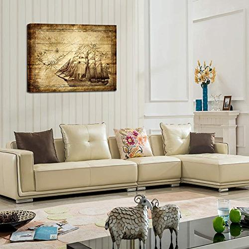 Creative Vintage Canvas - Ocean Map Art Canvas for Living Room Kids to