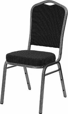 Crown Back Stacking Banquet Chair with Black Patterned Fabri
