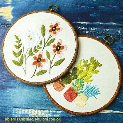 Embroidery Photo Frame Ring Cross-Stitch Hand Sewing DIY Too