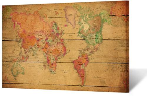 large size vintage brown world map wall