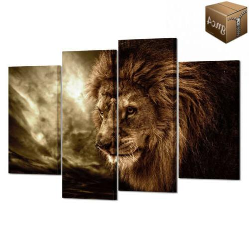 lion wall art canvas painting framed