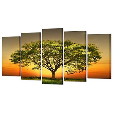 modern 5 panels stretched and framed giclee