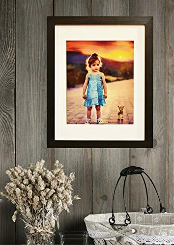 11x14 Black - GLASS FRONT Displays Picture w/o or an 8x10 Mat - Vertical or Horizontal Ready Hang