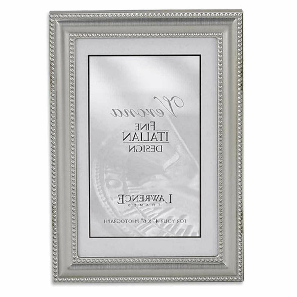 4 x 6 Picture Frame in Brushed Pewter with Delicate Beading