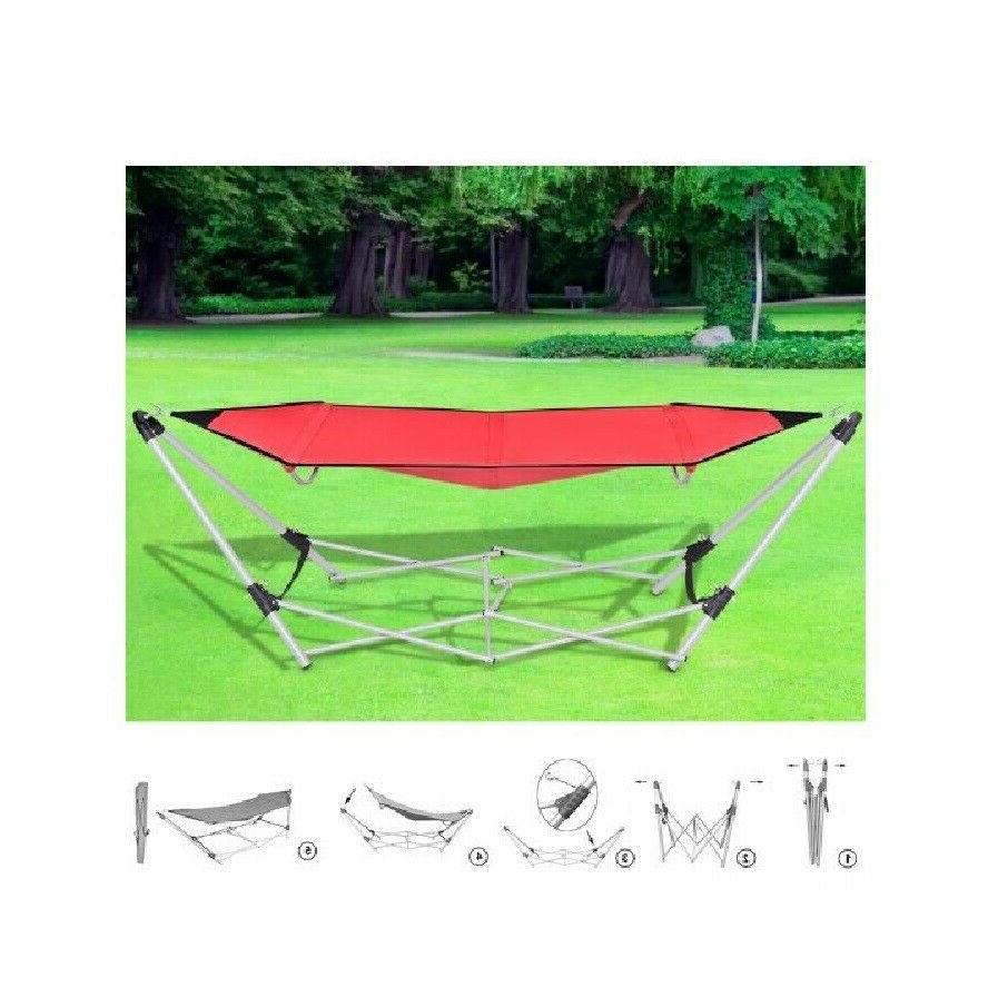 Red Lightweight Portable Steel Frame w/ Carry Bag Outdoor