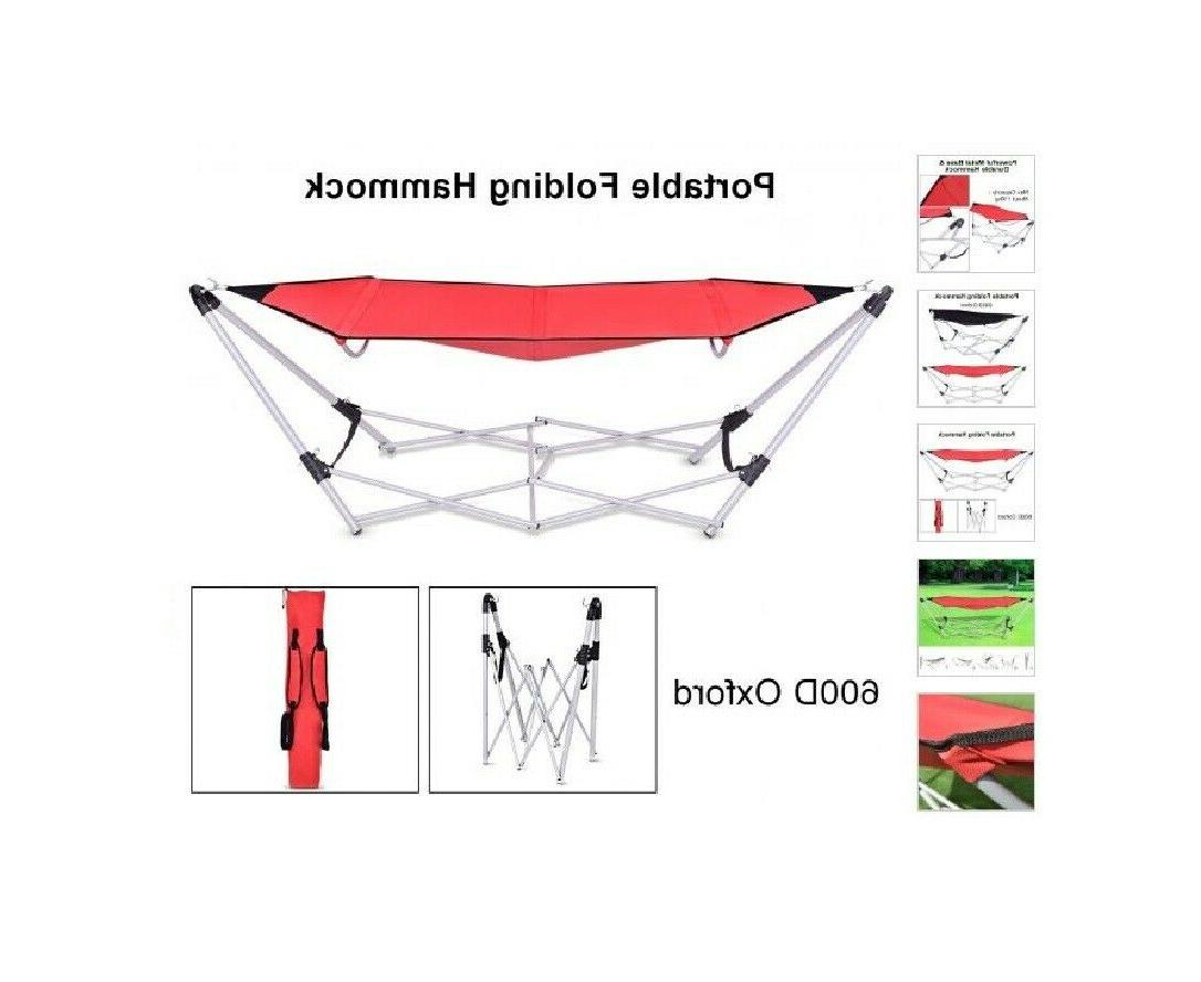 Red Lightweight Portable Folding Steel Frame w/ Carry Indoor Outdoor