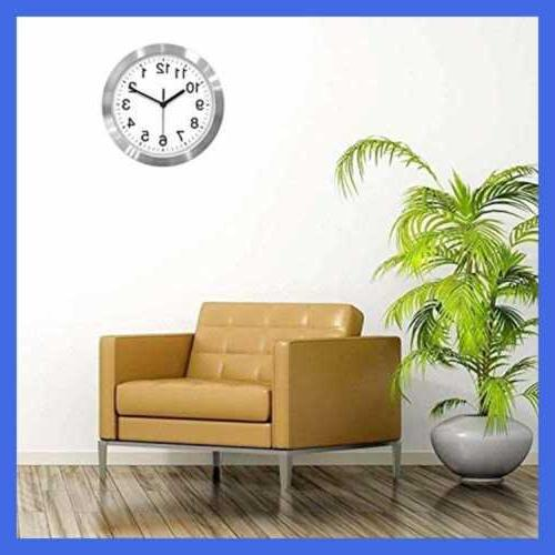 """Silent 10"""" Clock Aluminum For Home Offic Silver"""