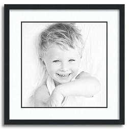"""ArtToFrames Matted 20x20 Black Picture Frame with 2"""" Double"""