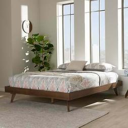 Mid-Century Walnut Brown Wood Bed Frame by Baxton Studio