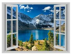 Mountains Forest Fog Lakes Scene Window Poster 3D Wall Stick