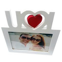 NEW WOODEN Picture Frame for 5x7 Photo, RED WHITE HEART WEDD
