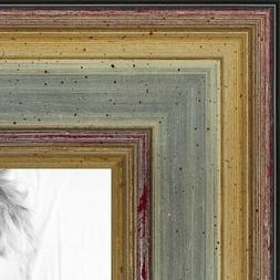 ArtToFrames Picture Poster Frame  Silver w Gold Accent  1.25