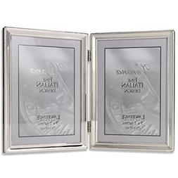 Lawrence Frames Polished Silver Plate 5x7 Hinged Double Pict