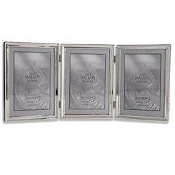 Lawrence Frames Polished Silver Plate 5x7 Hinged Triple Pict