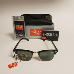 Ray Ban Clubmaster Sunglasses Black Gold Frame and G15 Lens