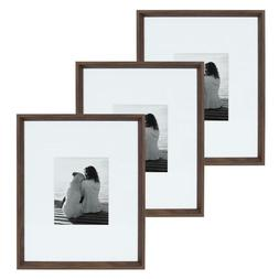 Rectangle Picture Frame Set Wall Mount Decorative Wood Grain