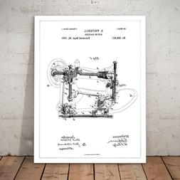 Sewing Machine Patent Gift Present Decor Art Poster Print -