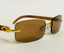 Small Men's Top Quality Rimless Gold Frame Brown Lens Wood G